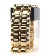 Montre-Bracelet LED Elégante, Bracelet en Acier Inoxydable - Bronze (1CR2016)