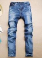 Jean plissé coupe droite Bleu