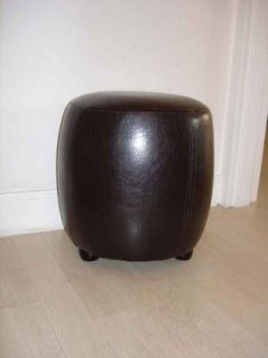 Pouf Chaise tabouret simili cuir rond marron wengué pin