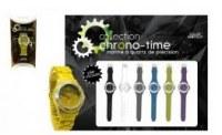 MONTRES CHRONO-TIME SILICONE : Mixt de 6 couleurs