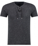 T-shirt lacet noir