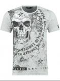 T shirt tête de mort gris