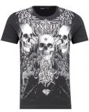 T shirt 3 tête de mort noir