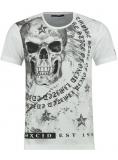 T shirt tête de mort JACKSON blanc