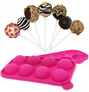 Moule à pop cakes pour 8 popcakes - batonnets inclus - en silicone