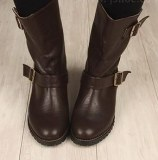 Boots à boucles en PU Café