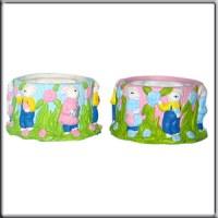 2 Pots décor lapin