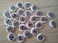 X 25 boutons en bois tête de mort