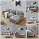 DESTOCKAGE : Canapé d'angle entièrement modulaire de type scandinave