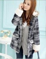 Manteau à capuche carreaux Noir&Gris