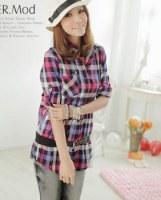Chemise manches réglables à carreaux Violet