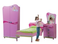 Chambre Barbie All Girls - Armoire 2 portes + Lit + Commode