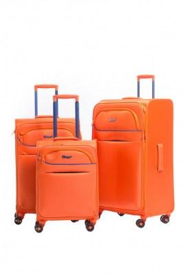 Set 3 valise chariot pas cher nylon tissu 4 roues doublées extensibles ultra léger