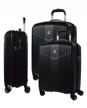 Set de trois valise 100% PC rigide extensible cabine pas cher serrure à code TSA ultra...