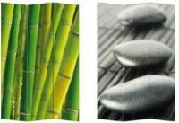 Paravent réversible PVC bambous verts 3 pans