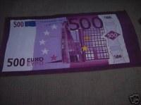 SERVIETTE PLAGE BILLET 500 EURO CA CARTONNE