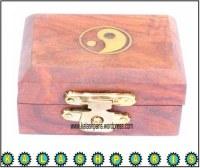 Boîte petit ying yang en boi travail incrusté fait main artisanat grossiste boutique en ligne