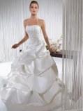 Robe de mariée col américain à volants Blanc