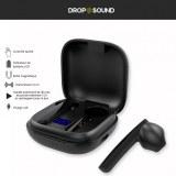 Destockage Ecouteur Bluetooth Drop Sound 5.0 Noir – Résistant à l'eau , Contrôle tactil...