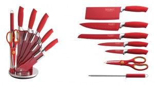 Set de couteau sur support 8 pièces MODELE CROCO ROUGE Revêtement Céramique sur présent...