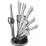 Ensemble de couteux + aiguisoir + ciseaux - gris - lot de 5