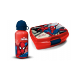 Gourde et lunch box - imprimé spiderman - rouge