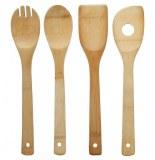 Lot de 4 cuillères de cuisine - bambou