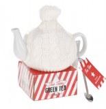 Théière avec deux accessoires - blanc - coffret cadeau