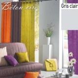 Double Rideau Béton Ciré GRIS CLAIR à Œillets 140 X 260 cm