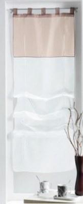 Store Voilage Bicolore BLANC / TAUPE 1 X 45 X 180 cm