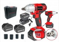 KRAFTMULLER KM-CORDLESS/IMPACT WRENCH/ CLE A CHOC 36V DOUBLE BATTERIES + 4 DOUILLES