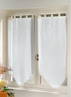 Paire voilage lumin a blanc 60 x 90 cm destockage grossiste for Voilage cuisine 60 x 90