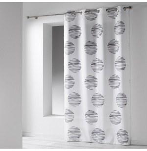 Rideau à oeillets microfibre - 140 x 260 cm - imprimé focus - blanc