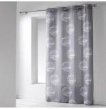 Rideau à oeillets microfibre - 140 x 260 cm - imprimé focus - gris