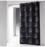 Rideau à oeillets microfibre - 140 x 260 cm - imprimé focus - noir
