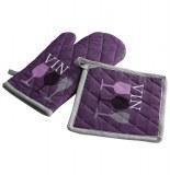 Gant de cuisine et manique - 100% coton - cave à- violet