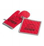 Gant de cuisine et manique - 100% coton - chef étoilé - rouge