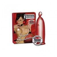 3 préservatifs rouge saveur fraise