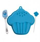 Moule à gateau en silicone - forme cupcake - avec spatule et testeur