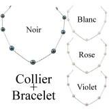 Parure Collier Bracelet Perles de Culture Ovales