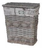 Lot de 3 coffres à linge rectangulaires en osier,intérieur en tissu imprimé