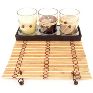 Coffret 3 bougies verre parfumees cire bambou destockage grossiste - Acheter cire de bougie ...