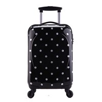Valise Taille Cabine rigide noir blanc ultra leger shine 4 roues PARTY PRINCE
