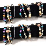Lot de 6 bracelets perles en bois