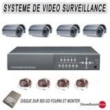 Kit VIDEOSURVEILLANCE 4 CAMERA, HD 500go