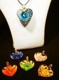 Lots de pendentifs en verre style Murano