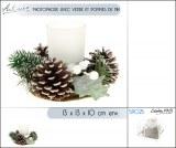 Destockage photophores Noël avec pommes de pin