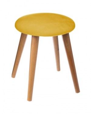 """Tabouret jaune moutarde """"Jude"""" en velours"""