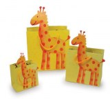 """Lot de 3 Sacs en Papier """"Girafe"""""""