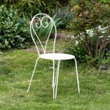 CHAISE DE JARDIN  METAL BEIGE EMPILABLE